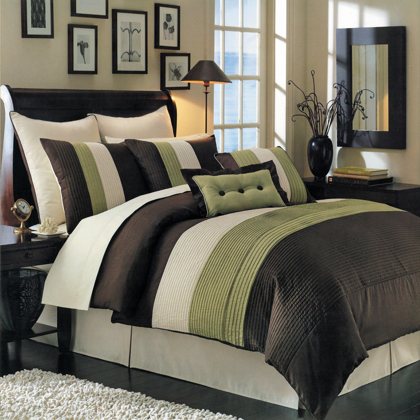 Luxury Stripe Bedding Green And Brown Queen Size 8 Piece Comforter Set EBay