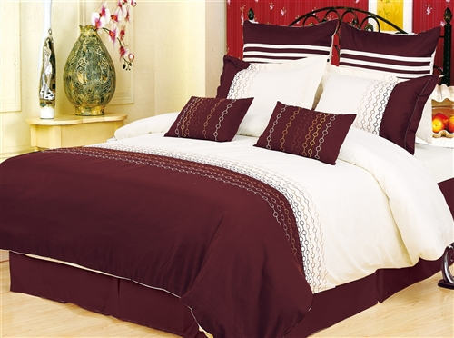 GoLinens: Ultra Soft & Wrinkle Free 7 Piece Ivory and Brown Duvet Cover Set w/ Small Circle Link Patterns at Sears.com